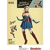 Simplicity 8185 H5 - Disfraz de Chica superchica con diseño de bombonas (6-8-10-12-14) para Mujer, Papel, Color Blanco, 22,12 x 15,12 x 1,12 cm