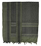 PLO Kopftuch mit Fransen Mundschutz für Motorradfahrer Shemagh Halstuch Baumwolle 115 x 110 cm in verschiednen Farben (Oliv/Schwarz)