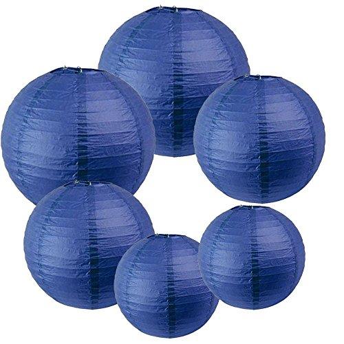 IMMEK Silberpapier Runde Laternen für Geburtstag Hochzeit Dekorationen Handwerk (1-Pack von 6)(Tinte blau)
