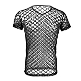 Tiaobug Herren Top Tanktop T-Shirt Ärmellos Netz Hemd Unterhemd Erotik Unteräwsche Transparent Nachtwäsche (M, Schwarz (Kurzarm))