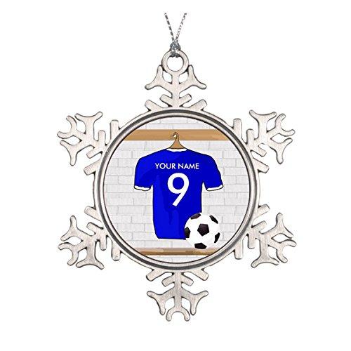 Personalisierte blau weiß Fußball Soccer Jersey Keramik rund Weihnachten Ornament