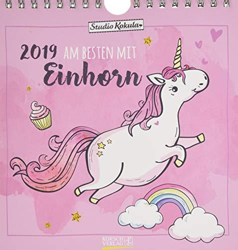 Einhorn   2019: Aufstellbarer Postkartenkalender. Tisch- und Wandkalender mit 12 Postkarten. 16 x 17 cm.