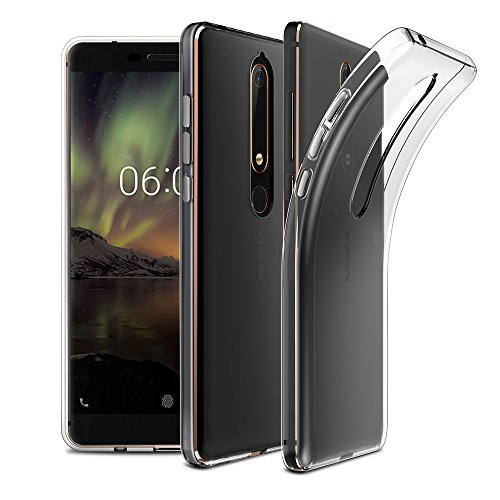 EasyAcc Nokia 6 2018 Hülle Case, Dünn Crystal Clear Transparent Tasche Handyhülle Cover Soft Premium-TPU Durchsichtige Schutzhülle Backcover Slimcase für Nokia 6 2018