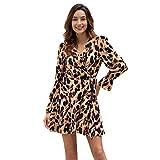 W&TT Vestido de Leopardo de la impresión de Las Mujeres de KAIKUO con Cuello en V con...