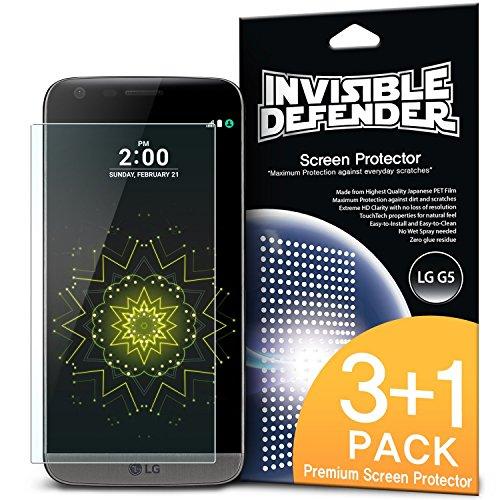 LG G5 Schutzfolie Invisible Defender (3+1 Pack/ Maximale HD Klarheit) LG G5 Displayschutz Lebenslange Garantie, perfekte Touch Präzision, High Definition (HD) Durchsichtige Folie für das LG G5