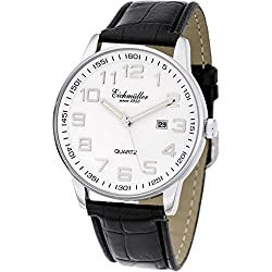 Eichmüller Premium Watch Herrenuhr Leder Armband Schwarz, Miyota Quarzwerk 2115 inklusive Uhrenbox