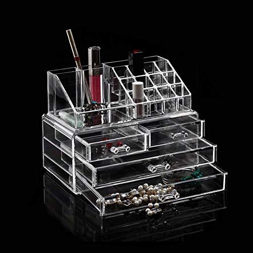 Dawoo Componga la Caja cosmética de acrílico del Organizador con la exhibición de la joyería del Maquillaje de los cajones