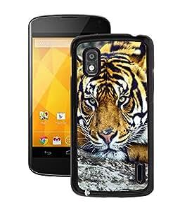 Fuson 2D Printed Tiger Designer Back Case Cover for LG Google Nexus 4 - D660