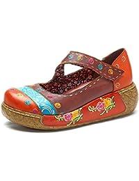 Socofy Sandalias de Mujer, Zapatos Merceditas para Mujer de Cuña de Flores Coloridas Zapatos de