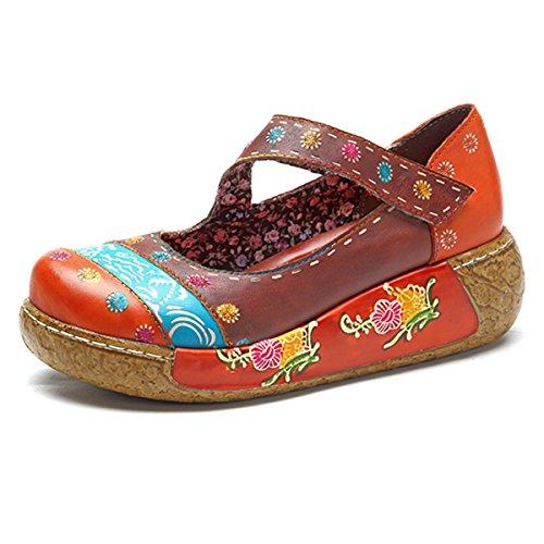 Socofy Sandali donna, Scarpe Mary Jane da donna Scarpe Donna fiore colorato Sandali con zeppa Scarpe in pelle vintage Slip-On Sandalo della piattaforma Balletto di danza Mocassini casual Scarpe oxford