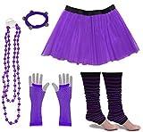 A-Express Frauen kostüm 80er Jahre Neon Tutu Streifen Beinstulpen Fischnetz Handschuhe Tüllrock Karneval Tüll Damen Fluo Ballett Verkleidung Party Tutu Rock Kostüm Set (46-54, Lila)