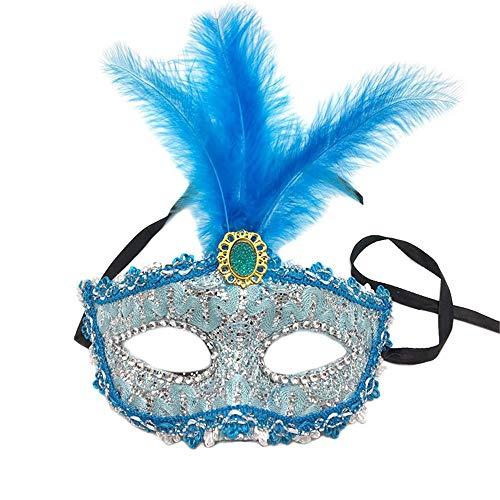 NUOKAI Halloween Maske Maskerade Prinzessin Feather Maske Spitze Drachen Half Face Blind Girl Party Maske, ()