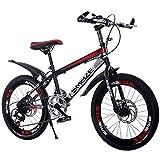 JH Biciclette per Bambini, Double Disc off-Road Singola velocità Mountain Bike per Bambini Freni della Bicicletta 20/22 Pollici Ad Alta Acciaio al Carbonio Uomini E Donne Mountain Bike,C,22inch