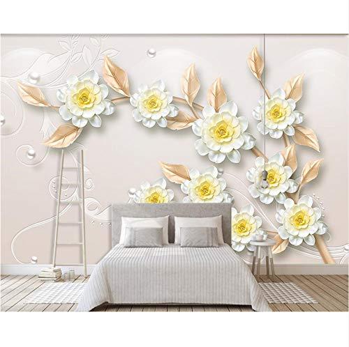 Pmhhc Kundenspezifische Tapete Moderner Ästhetischer Schmuck 3D Blüht Fernsehhintergrundwand-Wohnzimmerschlafzimmerhintergrund 3D Wllpaper-200X140Cm