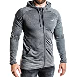 Natural Athlet Herren Fitness Trainingsjacke in Anthrazit - Männer Sportjacke mit Kapuze für Fitnessstudio, Gym, Bodybuilding, Sport in Größe XL