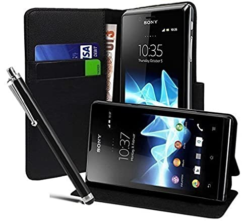 Coque Telephone Sony Xperia M4 - Housse Etui Coque en Cuir Portefeuille NOIR