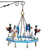 Rudolphs Schatzkiste Lichterkranz Adventskranz mit Engel und Bergmann Teelicht BxT = 38x38cm NEU Leuchter Hängeleuchter Advent Kerzen Dekoration Seiffen Erzgebirge Holz Weihnachten