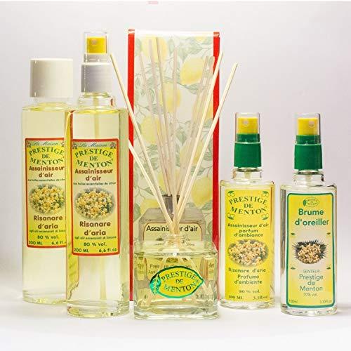 Pack Parfum d'ambiance, brume d'oreiller, diffuseur avec bâtonnets et assainisseur d'air au citron - Artisan Parfumeur en Côte d'Azur
