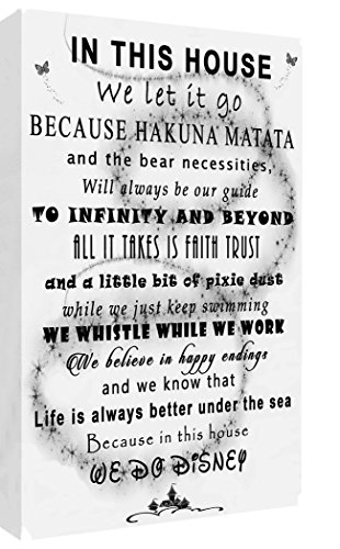 "We Do Disney In This House Quote on CANVAS WALL ART Picture Print - Black & White (20"" x 14"" (50.5cm x 35.5cm))"