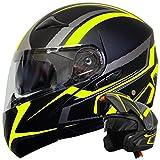Klapphelm Integralhelm Helm Motorradhelm RALLOX 109 schwarz neon gelb grün matt mit Sonnenblende (S, M, L, XL) Größe L