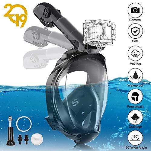 YUNDOO Máscara de Buceo, Máscara de Snorkel 180 ° Facial Completa Silicona Impermeable Anti-Fuga Completa Tubo Plegable+Soporte Cámara Tamaño Universal para Adultos (S/M/Black)