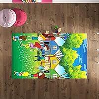 Çocuk Odası Oyun Halısı, Kaymaz Tabanlı Halı ve Kilimler, Çocuklar Seksek Desenli Kız Erkek Çocuk Odası Halısı, Bebek Odası Halısı (100x280)