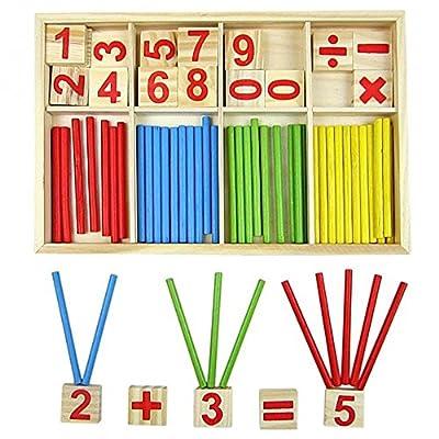 Bloques de madera de juguete, juguetes educativos Montessori, barras de inteligencia matemática, tarjetas de madera con números y contadores de varillas con caja por Doyime
