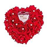 Mystery&Melody Cuscino a forma di cuore romantico bianco con cuscino a forma di anello di nozze d'oro Cuscino con elegante anello di raso cuscino floreale (Red)