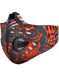 Wisamic Mask Sport Atemmaske Halbe Gesichtsmaske Mundmaske mit Aktivkohlefilter und Ausatemventil für Fahrrad MTB Motorrad Ski Outdoor-Sport