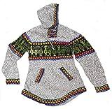 Alpacaandmore Damen Kapuzen Pullover Strickpullover Alpakawolle Alpaka Motiv (grau)