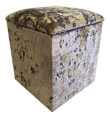 Linen Box/Dressing Table Stool in Mercury-Silver Crushed Velvet fabric (Small H50xW41xD41cm) - low-cost UK light store.