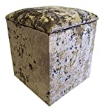 Linen Box/Dressing Table Stool in Mercury-Silver Crushed Velvet fabric Small(H50xW41xD41cm)