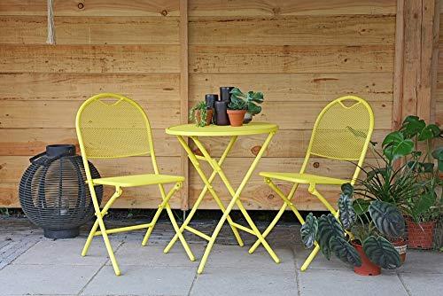 Garten Sitzgruppe 3tlg. Mesh Balkonset Bistroset 2 Klappstühle mit Tisch gelb