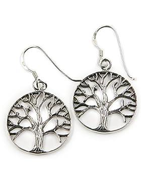 Lebensbaum keltischer Ohrhänger aus 925 Sterlingsilber, Ohrring Länge mit Hänger: 3 cm, Schmuck Ohrschmuck Silber