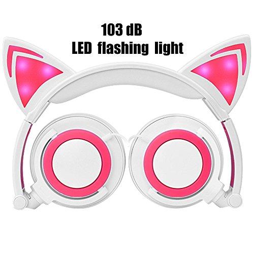 Preisvergleich Produktbild Futureway Zusammenlegbare Kinder-Kopfhörer mit lustigen Katzenohren und blinkenden LED-Lichtern With microphone pink / weiß