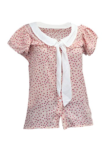 Détachable pour femme avec col Peter Pan cravate Falabala Manches-Imprimé Floral T-Shirt Semi transparent-Rose-Taille XS Rose