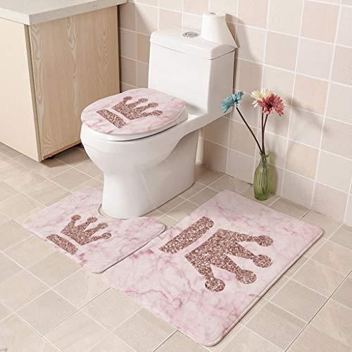 FeiliandaJJ 3pcs Badematten Set,Bad Teppiche Set Einfacher Stil Rosa Rutschfest Waschbar Flanell Badgarnitur Badezimmer Matte Set Dusch Vorleger Teppich für Badezimmer Toilet (B) (3pc Teppiche Wohnzimmer)