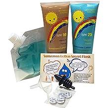 Protector solar en loción petaca secreta 2x 275ml de Sly Sippy/9.7 oz + Uno 200ml claro Floppy petaca secreta de Sly Sippy (combo pack)