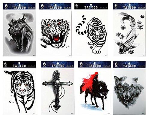 Spestyle impermeabile e non tossico tatuaggio 8pcs mescola animal fake temp tattoo adesivi in un imballaggio, compresi tiger, pesce, lupo, dinosauro, teschio con croce tatuaggi