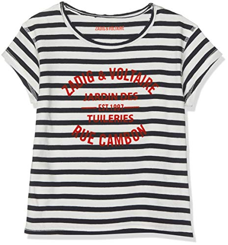 ZADIG&VOLTAIRE Tee-Shirt, Fille, (Bleu Blanc V21), 6 Ans (Taille Fabricant:06A)