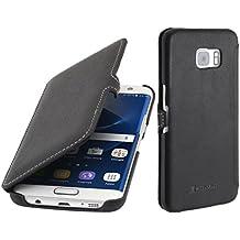 StilGut Book Type avec clip, housse en cuir pour Samsung Galaxy S7 edge, noir nappa