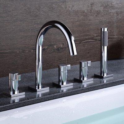 Vasca da bagno lavello rotondo stile a collo di cigno Acqua di rubinetto doccia per vasca da bagno rubinetto miscelatore monocomando con doccetta estraibile Spray Clear
