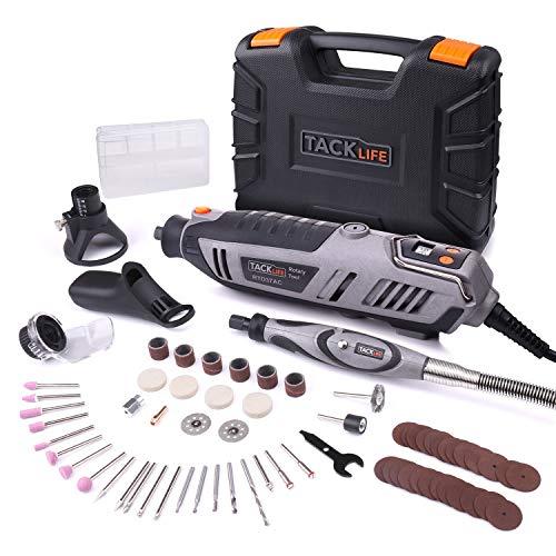 Amoladora eléctrica, Tacklife RTD37AC Mini amoladora multifuncional 200 W con 65 piezas. Kit de herramientas rotatorias de eje flexible, gran rendimiento ideal para trabajos de bricolaje