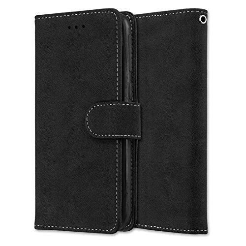 HTC Desire 830 Hülle, Chreey Matt Leder Tasche Retro Handyhülle Magnet Flip Case mit Kartenfach Geldbörse Schutzhülle Etui [Schwarz]