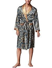 Dolamen Albornoz para Hombre Vestido Kimono Satén, Suave y ligero Satén Camisón, Lujo Robe Albornoz Ropa de dormir Pijama con Cinturón y bolsillos