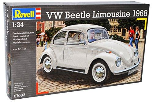VW Volkswagen Käfer Coupe 1968 Beige 07083 Bausatz Kit 1/24 Revell Modell Auto mit individiuellem Wunschkennzeichen