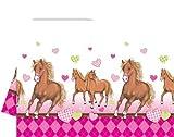 Tischdecke Motiv Pferde und Herzen rosa Kindergeburtstag