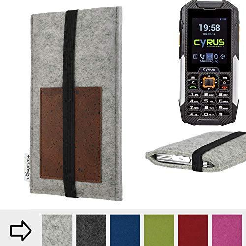 für Cyrus CM 16 Handyhülle Case SINTRA mit Kartenfach (Braun) und Gummiband-Verschluss (schwarz) - maßgefertigte Smartphone Tasche Schutz Hülle aus 100% Wollfilz (hellgrau) für Cyrus CM 16