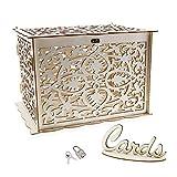Scatola per biglietti di nozze, in legno, con serratura, decorazione per feste di compleanno, colore naturale, 32 x 26 x 22,5 cm