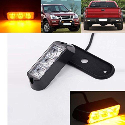LEAGUE&CO Universal PKW Strobe Blitzlicht Warnleuchte Flashlight Warnlicht LED Beleuchtung für Auto LKW Einsatzfahrzeug SUVs (Gelb, 3 LED)